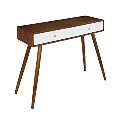 Kate and Laurel Finco 2 Drawer Console Table, Walnut Brown and White - MID-CENTURY STYLE: The sleek, clean lines of the wood top contrasts with the slender, angled legs giving the Finco Console Table a real retro mid-century style reminiscent of the 1960s PRETTY PERFECT: Large enough for everyday use but compact enough to fit in lots of spaces, this console table measures 30 inches tall x 36 inches wide x 12 inches deep FUN COLOR COMBINATION: A light walnut finish complements the bright white drawers that feature shiny brass hardware giving it a stylish vintage look - living-room-furniture, living-room, console-tables - 41G1mDuMdWL. SS400  -