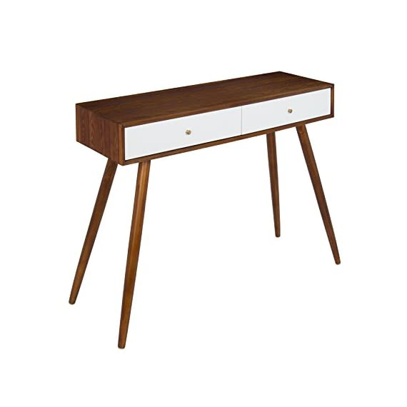 Kate and Laurel Finco 2 Drawer Console Table, Walnut Brown and White - MID-CENTURY STYLE: The sleek, clean lines of the wood top contrasts with the slender, angled legs giving the Finco Console Table a real retro mid-century style reminiscent of the 1960s PRETTY PERFECT: Large enough for everyday use but compact enough to fit in lots of spaces, this console table measures 30 inches tall x 36 inches wide x 12 inches deep FUN COLOR COMBINATION: A light walnut finish complements the bright white drawers that feature shiny brass hardware giving it a stylish vintage look - living-room-furniture, living-room, console-tables - 41G1mDuMdWL. SS570  -