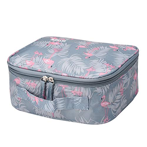 Makeup Bag,Portable Travel Cosmetic Organizer Toiletry Case for Women by SKYNEW,Blue Flamingo -