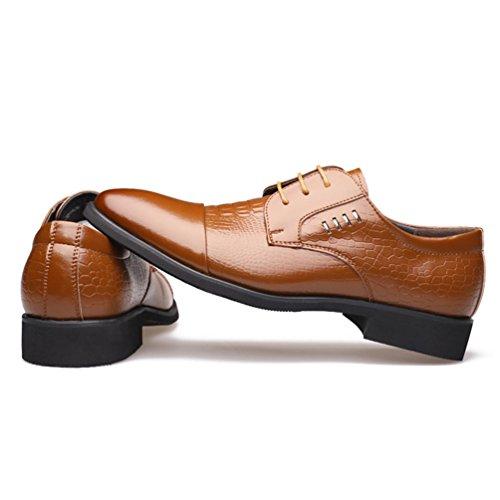 XIGUAFR Chaussure en Cuir D'Affaire a Lacet pour Homme en Quatre Saisons Chaussure de Ville de Mariage Simple Jaune 1EgY4