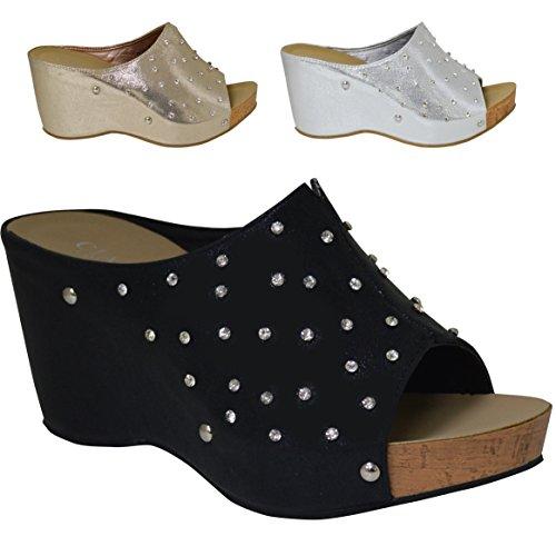 Ladies Comfort Insole Silver Diamante Slip On Wedge Sandal Black Ordb4axxR