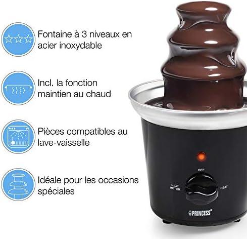 Fontaine à chocolat Princess 292994 noire - 3 étages - 0,4 L - 32 W - Maintien au chaud