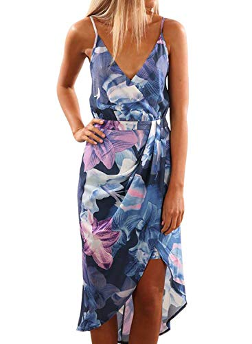 (Dearlove Women's Sexy Wrap V Neck Spaghetti Strap Sleeveless Floral Print Split Summer Beach Casual Maxi Dress Blue Flower M)