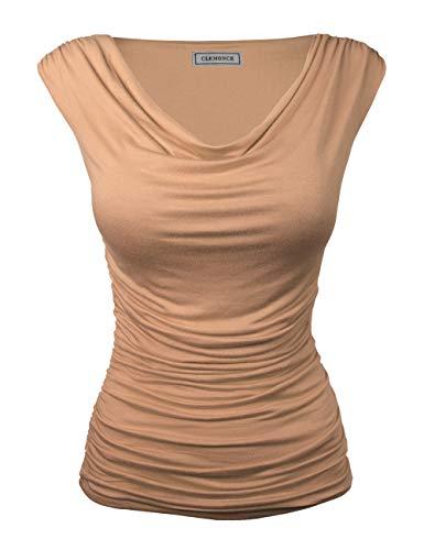 (CLEMONCE Women's Cowl Neck Ruched Side Slim Fit Top Khaki M)