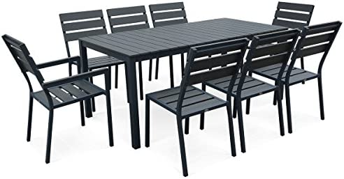 Alices Garden-Set de mesa y sillas de jardín 8 personas, Monaco ...