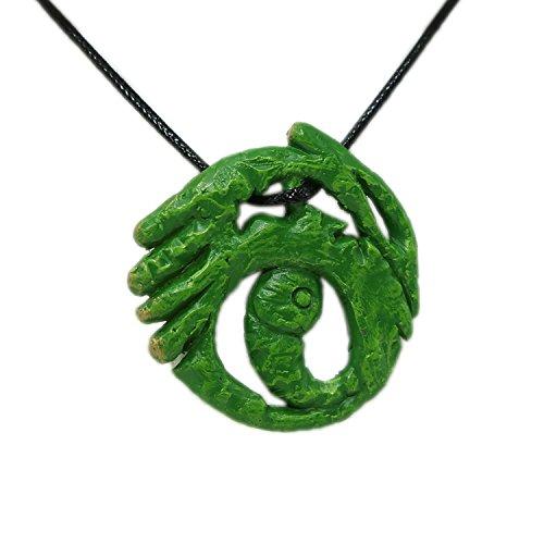 Lara Necklace Croft Green Pendant Fancy Accessories Cosplay Props (Lara Croft Halloween Costume Accessories)