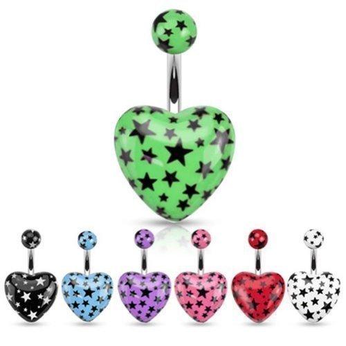 Coolbodyart piercing de nombril en acier chirurgical en forme de cœur avec pierres en acrylique et sternendruck-set de 7 par une couleur