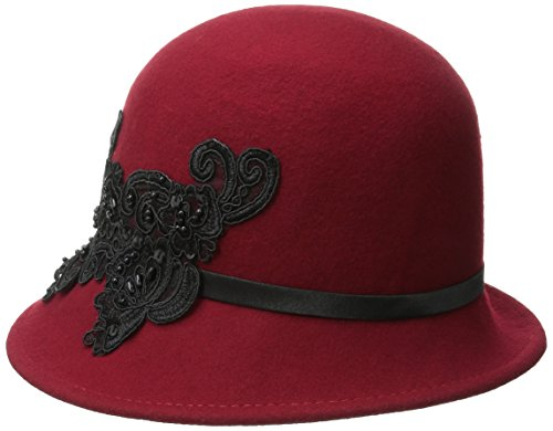 San Diego Hat Company Women's Wool Felt Cloche Hat with Sequin Lace Aplique Trim, Red, One Size ()