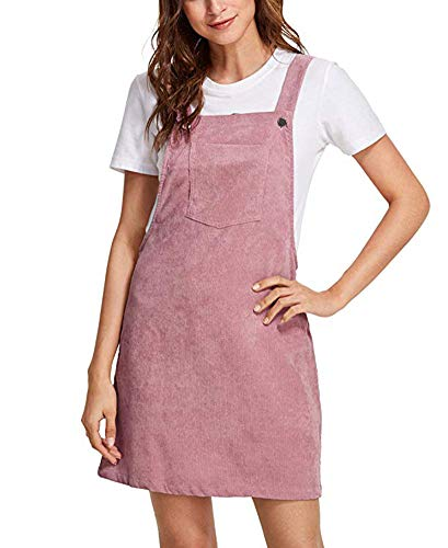 - Women Suspender Dress A-Line Strap Corduroy Pinafore Mini Denim Overalls with Bib Pocket (Large, Pink)