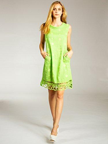 aufgestickten knielanges Punkten Apfelgrün und Leinenkleid Damen CASPAR Kragen mit lässiges SKL019 Sommer wECpqTHagz