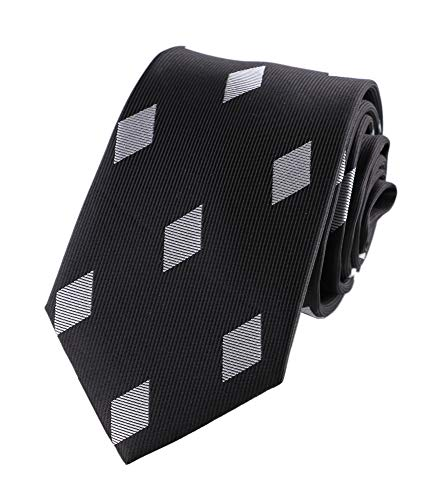 Men's Slim Black Woven Polyester Novelty Ties Diamond Pattern Casual Party Wedding Dress Neckties