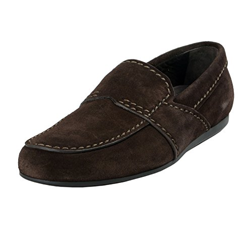 - Prada Men's Dark Brown Suede Leather Moccasins Slip On Shoes US 11 IT 10 EU 44