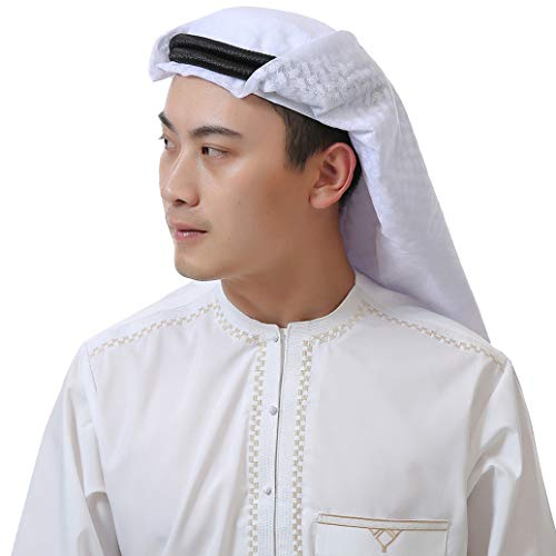 YI HENG MEI Muslim Men's Shemagh Scarf Arab Tactical Desert Wrap Collar Shawl Turban,123620White