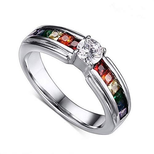 - Waldenn 316L Stainless Steel Rainbow CZ Ring for Male Party Jewelry Wedding Band Sz 5-11 | Model RNG - 27400 | 5