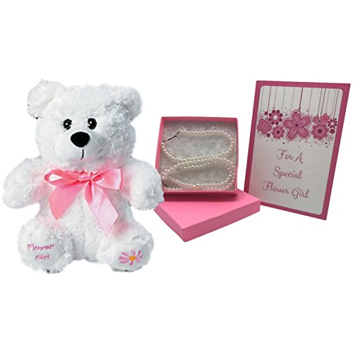 Flower Girl Gifts-Adorable Plush Flower Girl Teddy Bear and Flower Girl Necklace and Bracelet Set (Faux Pearl) ()
