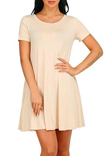 A Dress Beige Solido Di Corta Blansdi Donne Manica Casuale T Girocollo Allentato Shirt Colore SI7aqUZ