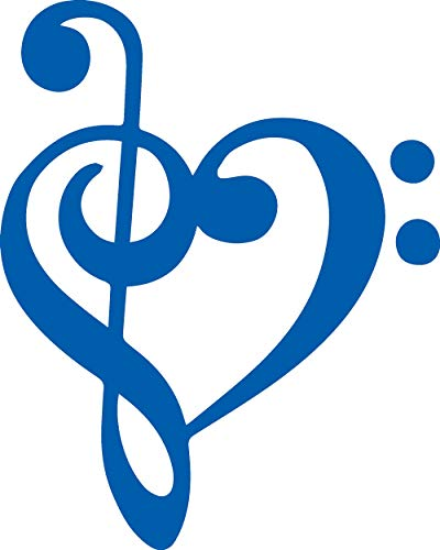 (ANGDEST Treble Bass Clef Music Note Heart (Azure Blue) (Set of 2) Premium Waterproof Vinyl Decal Stickers for Laptop Phone Accessory Helmet Car Window Bumper Mug Tuber Cup Door Wall)