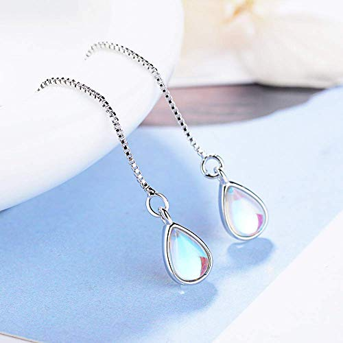 925 Sterling Silver Moonstone Drop Earrings Colorful Droplet Dangle Threader Earrings for Women