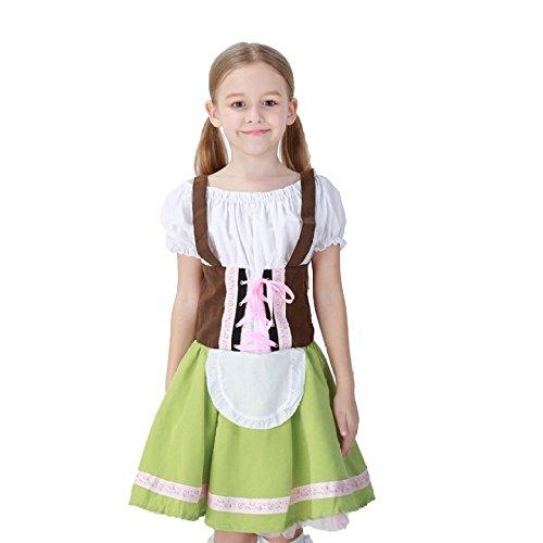 Acccity Kids Costumes Beer Maid Costume Halloween Cosplay Dress (Green, -