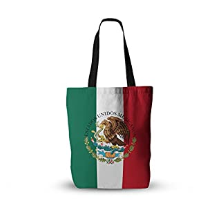 """KESS InHouse Everything Tote Bag 13"""" X 13"""", Bruce Stanfield Mexico Flag and Coat of Arms Red Green, Multicolor, One Size"""