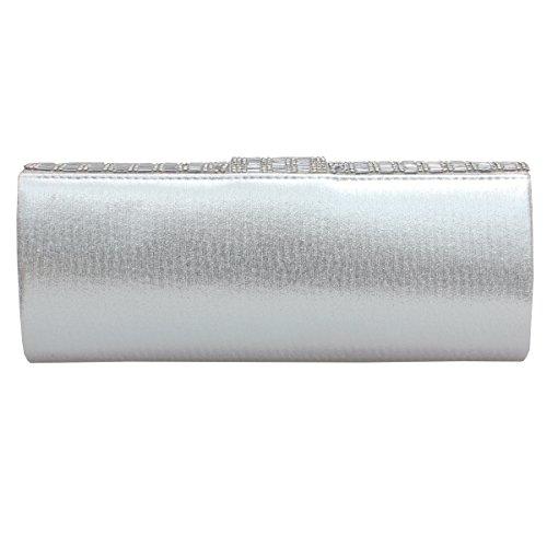 Gesu Purse Evening for Rhinestone Bridal Silver Women Clutch Glitter Bag Handbag Prom Wedding r8B6qrwE