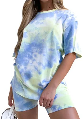 Women's Tie-Dye Set Two-Piece Outfits Summer – Casual Two Piece Short Set Short Sleeve T Shirts