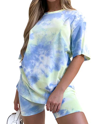 Women Short Sets 2-Piece Outfits Tie-Dye - Cute Summer Tops Short Pants Casual T Shirt Short Sleeve Tops