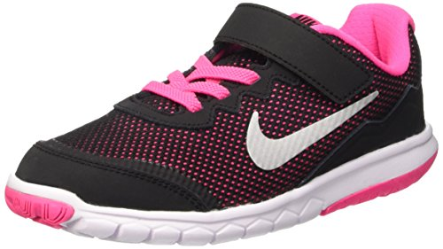 Nike Flex Experience 4 (Psv), Zapatillas de Deporte para Niñas Negro / Plateado / Rosa (Black / Metallic Silver-Pink Pow)