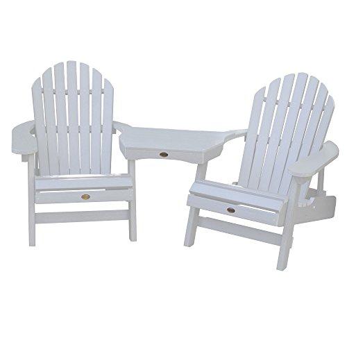 (Highwood AD-KITCHL3-WHE Hamilton Folding/Reclining Adirondack Chairs Tete, White)