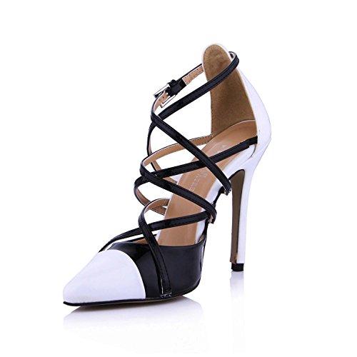 Best 4U® Sandali estivi donna Sandali incrociati in vernice Pelle a punta 12CM Scarpe con tacco alto in gomma