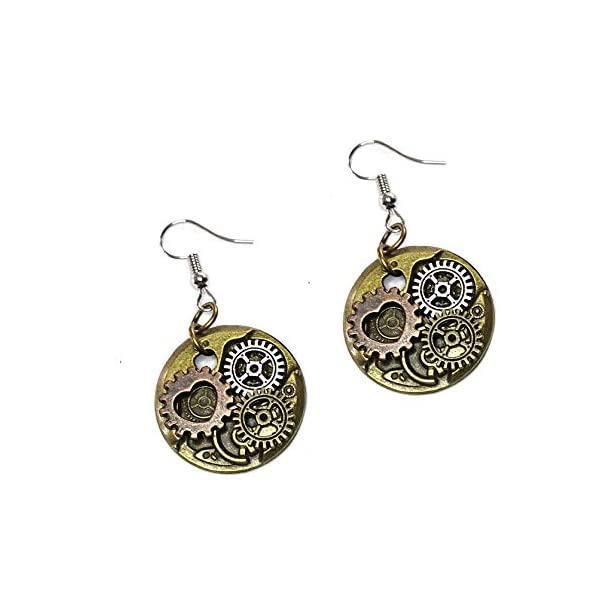 Joji Boutique Steampunk Collection: Antiqued Mix-Tone Gear & Cog Circle Drop Earrings 3