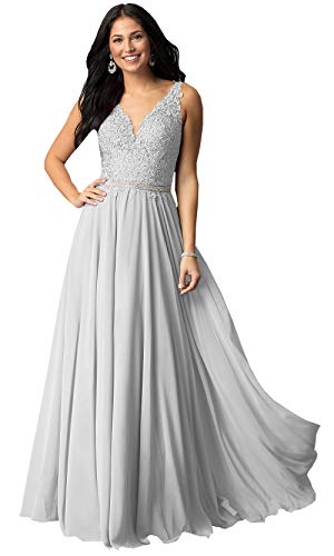 Women's V Neck Lace Bodice Chiffon Prom Dress Long Formal Evening Party Gowns (Silver,14)
