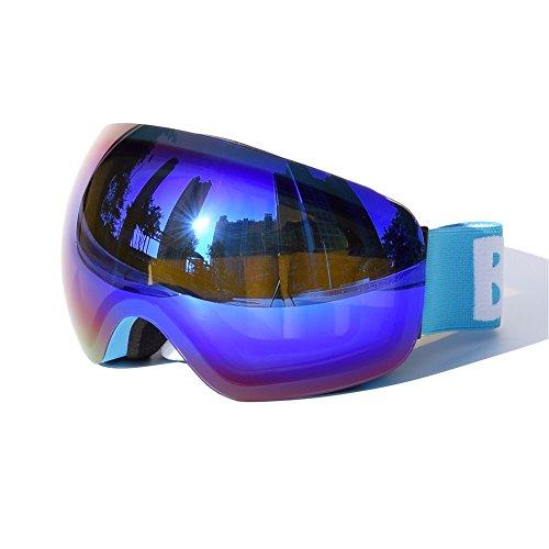 Snow Goggles,iHouseKeeper Snowboard Ski Goggles Snowmobile For Men Or Woman OTG Over Glasses Anti Fog UV Protection (X45 Blue) (Ski Mobile)