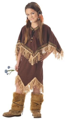 California Costumes Princess Wildflower Indian Girl Child Dress L 10-12 NIP Costume, Brown