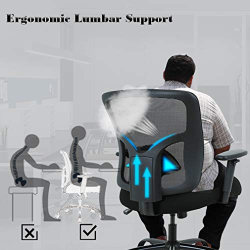 Big and Tall Office Chair Mesh Chair Computer Ergonomic Chair 400lbs Wide Seat Executive Desk Task Rolling Swivel Chair with Lumbar Support Adjustable Arms by BestMassage (Image #4)