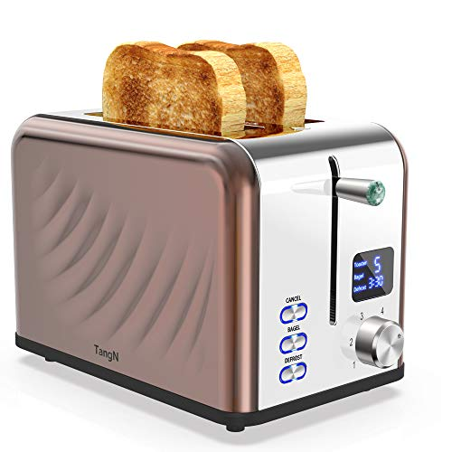 Toaster 2 Slice Best Rated Prime, Stainless Steel,Bagel Toaster – 6 Bread Shade Settings with Big Timer/Bagel/Defrost…