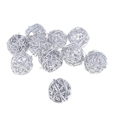 Grapevine Balls Set of 10 Natural Vine Balls 2 Inches Diameter, Bowl and Vase Filler Decoration Balls, Wooden Ball Rustic Rattan Cane - 3 Colors - Silver