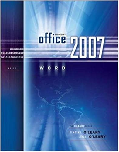 Microsoft Office Word 2007 Brief The Oleary Series Linda Oleary