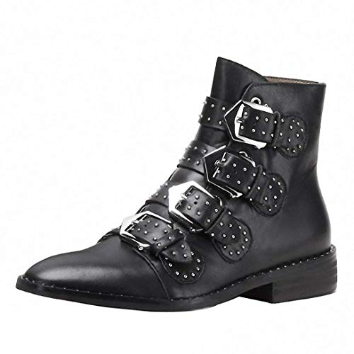 Comfity Boots for Women,Women's Leather Boot Rivets Studded Shoes Metal Buckle Low Heels Ankle Studded Booties Black