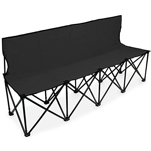 (Crown Sporting Goods 6-Foot Portable Folding 4 Seat Bench with Seat Backs & Carry Bag - Great Team Bench for Soccer & Football Sidelines, Tailgating, Camping & Events)