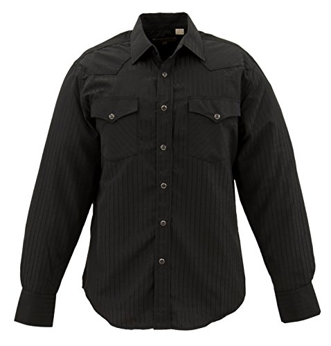 Snap Close Western Shirt (STARR Western Solid Snap Dobby Striped Shirt by SWWTNT17-BLACK-Size-XL)
