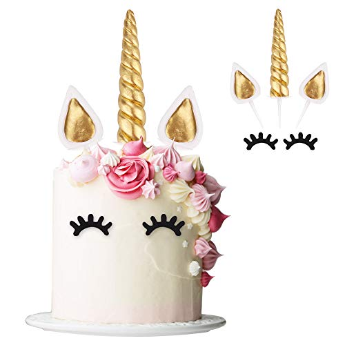 - Unicorn Cake Topper with Eyelashes, NALAKUVARA Handmade 3D Gold Reusable Unicorn Birthday Cake Decorations Set Favors for Party Supplies, Baby Shower and Wedding (8 inch High)