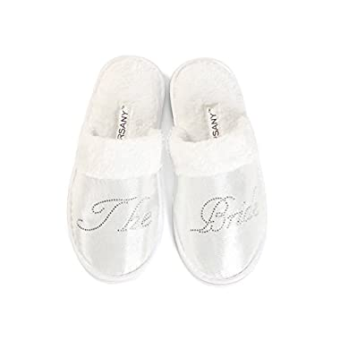 Clear Bride Party Spa Slippers Hen party Wedding Diamante rhinestone crystal hotel honeymoon slippers