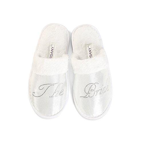 Pantofole Strass Addio Miele Di Size Scritta Al Sposa All Da Size Luna Con Trasparente One Per O Fits Nubilato Frtr7p