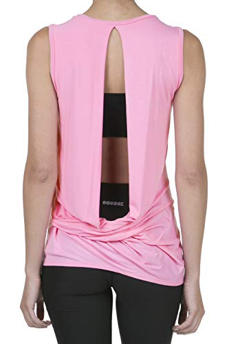 iliad USA 9056 Women's Backless Yoga Workout Active Loose Knotted Back Tank Top Love Pink S ()