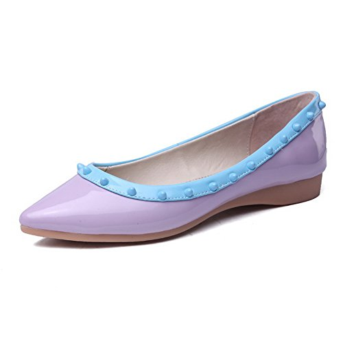VogueZone009 Women's Assorted Color PU No-Heel Pointed Closed Toe Flats Shoes Purple Q7eEUmPXg