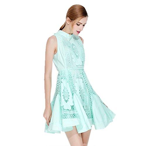 Girocollo Senza Maniche Abiti `s Vestito Verde Donne Sottile Delle Tinta Cotyledon Unita In 08wzqwx