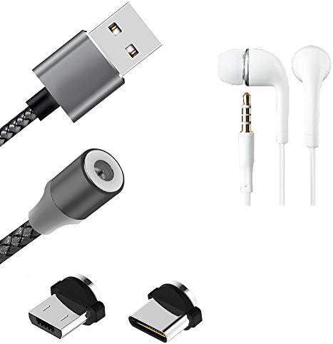 KSTrade Hoogwaardige Magnetische Laadkabel Synckabel DatakabelKoptelefoon Compatibel Met Nokia 61 Plus Met USB Type Cconnector En Micro USBconnector 2A Tot 480mbps