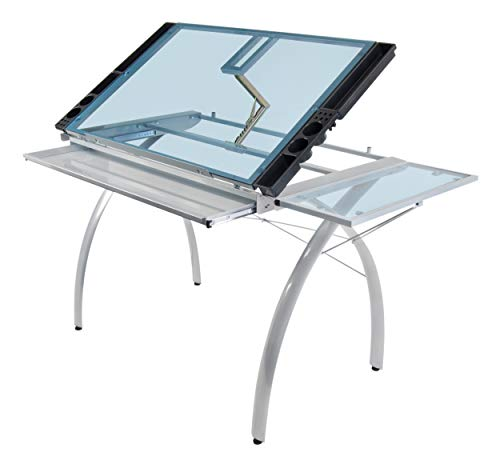 SD STUDIO DESIGNS Futura Craft Station w/ Folding Shelf, Top Adjustable Drafting Table Craft Table Drawing Desk Hobby Table Writing Desk Studio Desk w/ Drawers, 35.5''W x 23.75''D, Silver/Blue Glass ()