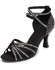 JUODVMP Dames Latijn Dansschoenen Peep-toe Glitter Salsa Standaard Dansschoenen Sandalen High Heel